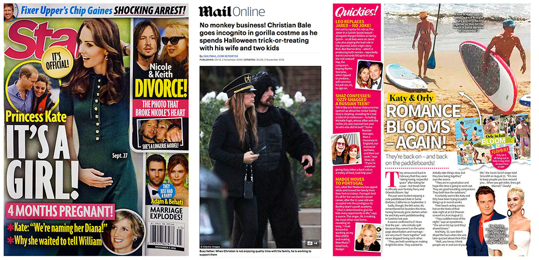 Left to Right: We were given a low set price for the front cover of Star magazine and our Exclusive pics of Christian Bale dressed as a Gorilla on the MailOnline did not fill us with any optimism. We then decided not to give any web rights to any outlet to our Exclusive pics of Orlando Bloom and Katy Perry and saw our new website Celebrity WotNot gain some great traction.