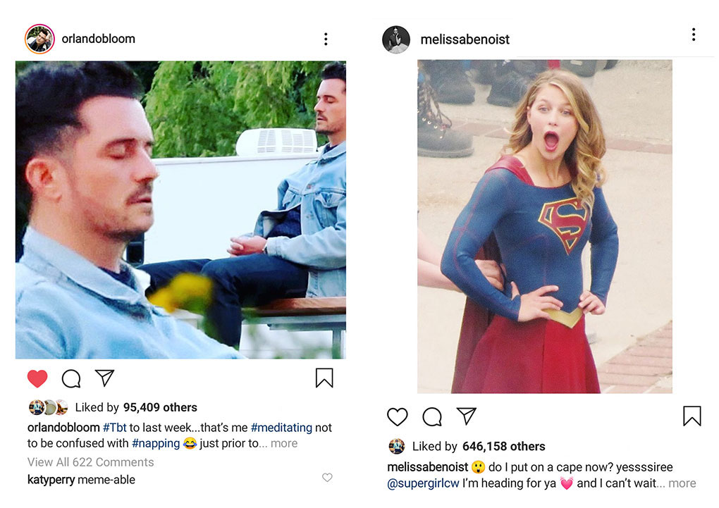 "Left to Right: Even Katy Perry thought our image was pretty funny commenting ""meme-able"" on her husband Orlando Bloom's Instagram account. Melissa Benoist AKA Supergirl could have used the official on-set photographers pics to announce filming had begun for a new season but used our image without permission or credit. We're still glad they chose our great pics though!"
