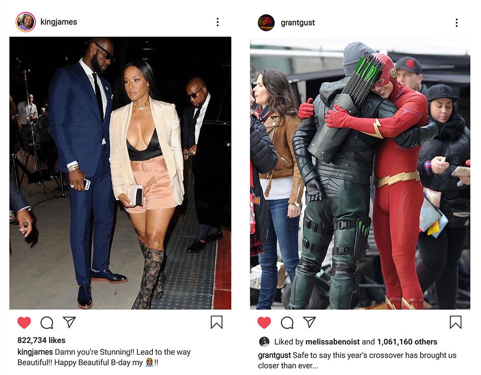 Left to Right: LeBron James used our image of himself and his wife at the Floyd Mayweather Jr Vs Conor McGregor Fight in Las Vegas, while Grant Gustin AKA The Flash used our image of him hugging Stephen Amell AKA The Green Arrow on set in Vancouver, Canada. No one sought permission but they have nearly 2 million likes so at least people like our pics!