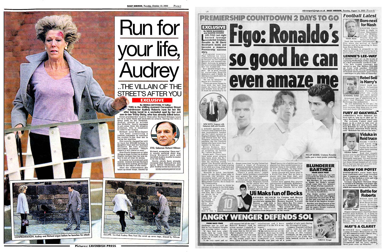 Left, one of my first big hits in the nationals on Piers Morgan's new Page 3 in The Daily Mirror. On the right, Ronaldo signs for Manchester United. Cavendish were banned from all official Manchester United press conferences so I stood outside on my own while all the national press were inside. Then Ronaldo popped out the front door of Old Trafford and I snapped the first pic of him as a United player.
