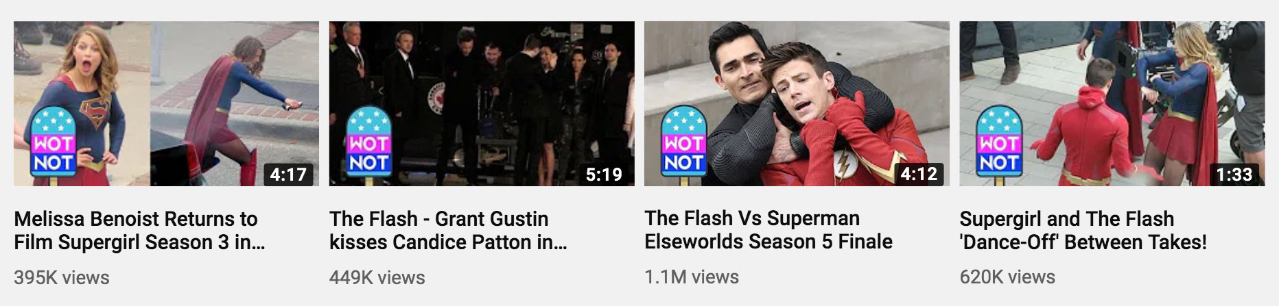 Supergirl and The Flash are two hugely popular CW TV shows which are getting some great views on our Celebrity WotNot YouTube channel despite not much interest when trying to sell to publishers. Fandoms are also a great new avenue for exposure.